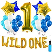 WILD ONE BIRTHDAY DECORATION KIT Blue and White Balloons Set Perfect for 1st Bday Party Supplies Girl or Boy with One FREE Number 1 Cake Topper & Air Pump [並行輸入品]