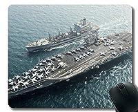 ステッチエッジ付きマウスパッド、空母USS Harry S. Truman滑り止めラバーマウスパッド