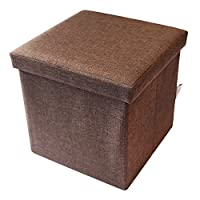 KTJ スツール 収納スツール オットマン 収納椅子 収納イス 収納ベンチ ボックススツール 折りたたみ 収納ボックス 収納BOX ソファベンチ リビング収納 小物収納 おもちゃ箱 足置き台 背もたれなし コンパクト フタ付き 座れる (ブラウン, 38x38x38cm)