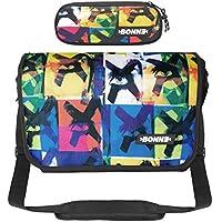 "Bonne Messenger Bag with Pencil Case Bargain Value Set, Laptop Messenger Bag for Men Women Boys Girls - 15.6"" Laptop Section - X-Eyes Design"