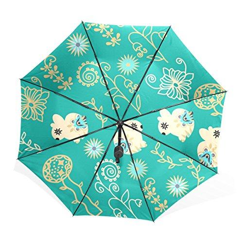 マキク(MAKIKU)折り畳み傘 手開き 黒い表地 UVカット 花柄 兎柄 可愛いよ グリーン 頑丈な8本骨 耐風 撥水 軽量楽々 3段式 耐強風 晴雨兼用 収納ケース付 携帯用傘