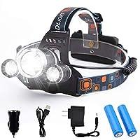 LED ヘッドライト 高輝度LED 3点灯モード USB充電式 角度調節可能 夜釣り キャンプ ヘルメットライト (高輝度ヘッドランプ)