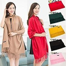 Gillberry Women's Scarves Winter Cashmere Blend Solid Tassel Shawl Wrap Scarves