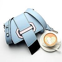 バッグ ショルダーバッグ レザー レディースバッグ 本革 幅広いショルダーストラップ ハンドバッグコントラストカラー 小さなスクエアバッグ タングバッグ 2018新品 (Color : Blue, Size : M)