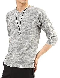 (アーケード) ARCADE メンズ スラブボーダー 長袖 Vネック カットソー Tシャツ