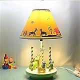 MEI デスクライト 漫画の子供たちは男の子と女の子のかわいい動物の樹脂テーブルランプ用ランプ牧歌コンチネンタルベッドサイドランプベッドルームの家を読み取ります 電球が含まれています (設計 : 回転木馬)