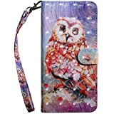 Bear Village® Huawei Honor 7X Case, PU Leather Book Style Cover with Card Slots, 3D Pattern Design Wallet Flip Case for Huawei Honor 7X (#7 Owl)