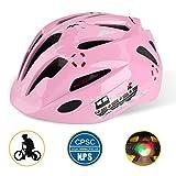 Shinmax子供ヘルメット,ledライト付き s m l xlサイズ調整可能CPSC認証済み 幼児 キッズ 小学生 こども用 超軽量 自転車 通学 登山 バイク、スケートボード、キックボード、インラインスケート、BMX、MTBなど適用5-13歳 かわいいスポーツヘルメット