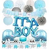 ベビーシャワー 飾り付け 可愛い ブルー 男の子 baby boy 出産お祝いパーティーデコレーション 象ガーランド 風船 ペーパーフラワー 紙提灯 ハニカムボール