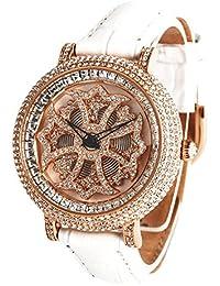 アンコキーヌ ミニクロスゴールドベゼル(本体:ホワイト×ベルト:ホワイト)1206-0101 腕時計 グルグル時計 ぐるぐる時計