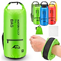 (30L, Green) - BFULL Waterproof Dry Bag 10L/20L [Lightweight Compact] Roll Top Water Proof Backpack 2 Exterior Zip Pocket Kayaking, Boating, Duffle, Camping, Floating, Rafting, Fishing