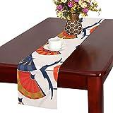 LKCDNG テーブルランナー カラフル レトロ 和風の扇子 クロス 食卓カバー 麻綿製 欧米 おしゃれ 16 Inch X 72 Inch (40cm X 182cm) キッチン ダイニング ホーム デコレーション モダン リビング 洗える