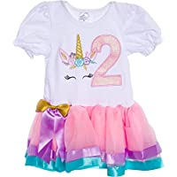 Silver Lilly Baby Girls Birthday Outfit Unicorn Rainbow Ribbon Tutu Dress for Toddlers
