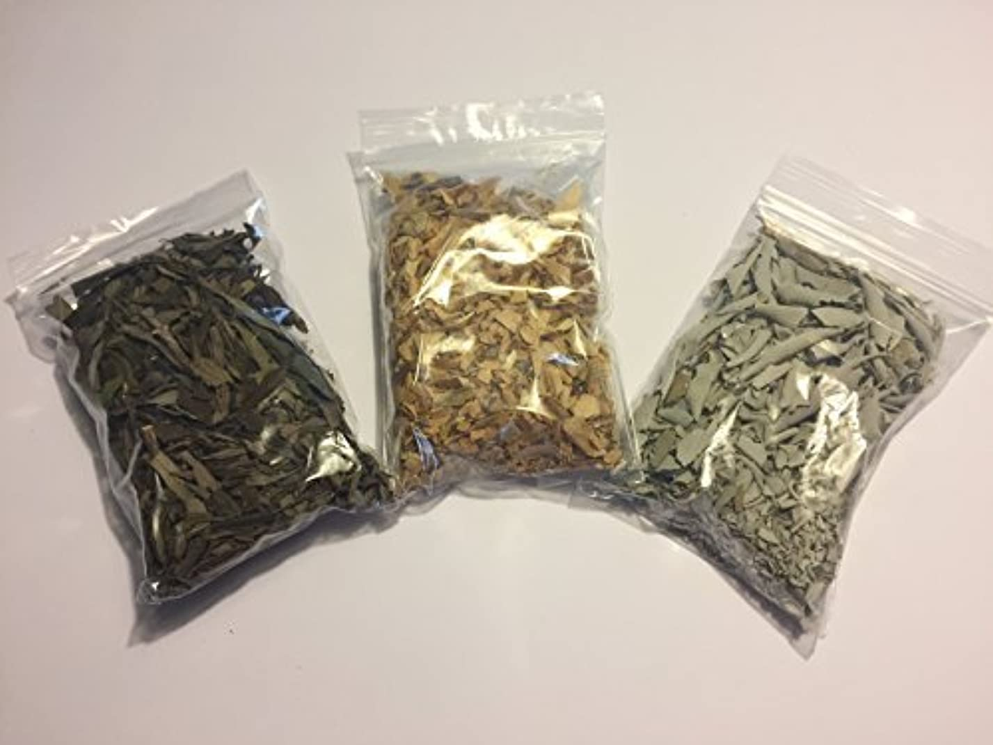 スペイン貫入シリアルLoose Leaf Variety Smudge Kit includes White Sage Lavender and Palo Santo Flakes [並行輸入品]