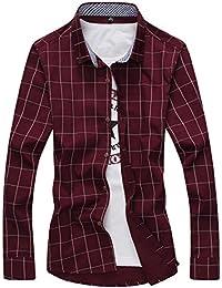 [スゴフィ]SGFY ドレスシャツ メンズ 長袖 スリム ビジネス カジュアル シンプル おしゃれ 襟付き カッターシャツ フィット チェック柄 (M, ワインレッド)