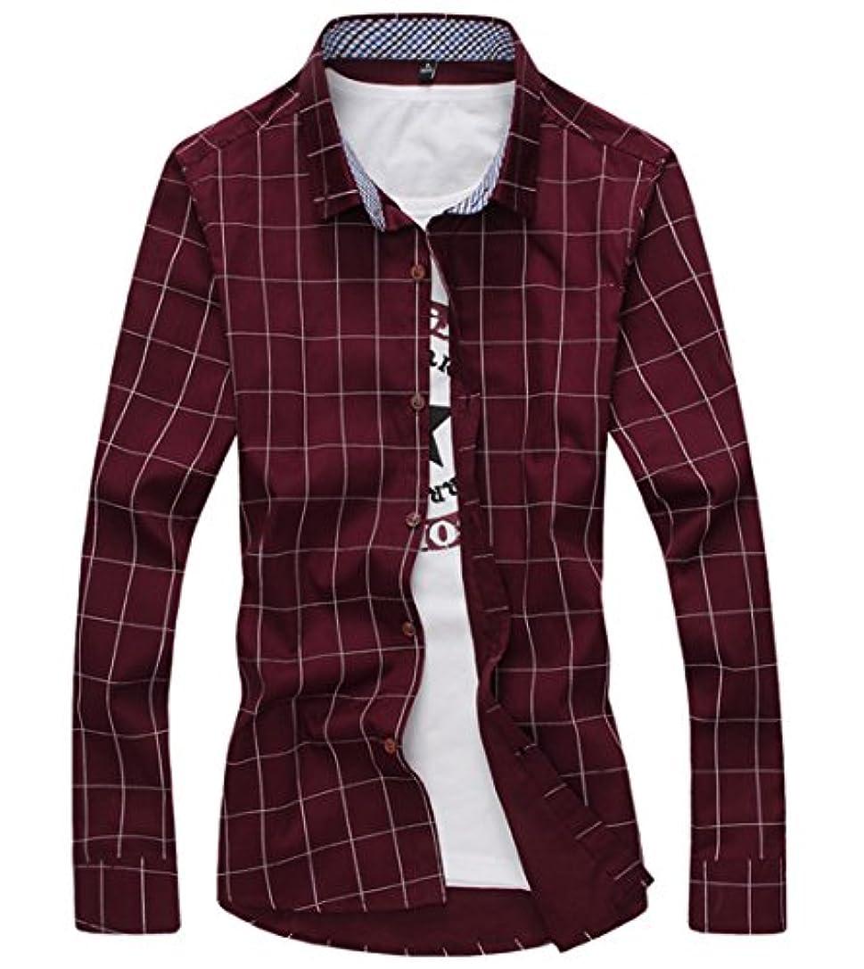 キャンディーバー結婚した[スゴフィ]SGFY ドレスシャツ メンズ 長袖 スリム ビジネス カジュアル シンプル おしゃれ 襟付き カッターシャツ フィット チェック柄 (6XL, ワインレッド)