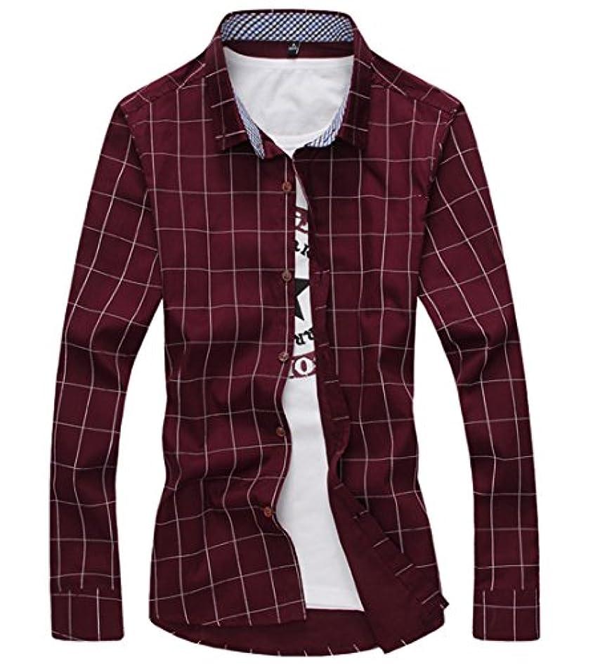 痛みビタミンによって[スゴフィ]SGFY ドレスシャツ メンズ 長袖 スリム ビジネス カジュアル シンプル おしゃれ 襟付き カッターシャツ フィット チェック柄 (L, ワインレッド)
