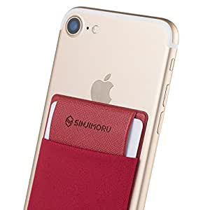 手帳型ケース Sinjimoruスイカ 定期券 ICカード入れ iphone android など スマホ背面ポケット シンジポ-チflap レッド