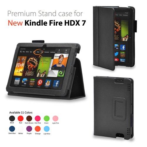 wisersオリジナル Amazon Kindle Fire HDX 7インチ PU ケース カバー オートスリープ対応 【生涯保証】 (スタンド ブラック)