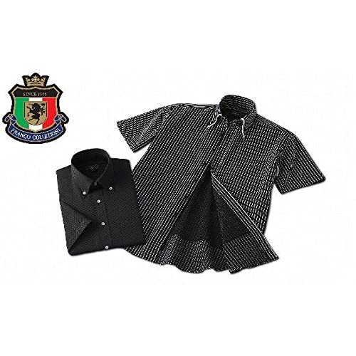 (フランコ コレツィオーニ)Franco Collezioni 裏メッシュ半袖ドレスシャツ2枚組(ブラック系) 50270 (L)