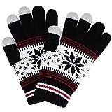(トレリア) Trelia スマホ 手袋 レディース タッチパネル ニット グローブ 雪柄 ノルディック柄 防寒 あったか #a111 (ブラック)