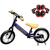 DABADA(ダバダ) バランスバイク 減速ブレーキ付 スタンド付 ノーパンクタイヤ プロテクター付き 全7色 6ヵ月保証付き キックバイク キッズバイク トレーニングバイク 幼児用 子供用 乗用玩具 ランニングバイク 子供用自転車 男の子 女の子 プレゼント 誕生日 (パープル)