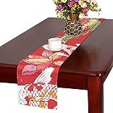 LKCDNG テーブルランナー 赤い 春 和風の花 クロス 食卓カバー 麻綿製 欧米 おしゃれ 16 Inch X 72 Inch (40cm X 182cm) キッチン ダイニング ホーム デコレーション モダン リビング 洗える
