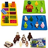 Eighteen-Me Lego Shaped Robot Mold,Set of 3 Silicone Molds for Lego Lovers Building Blocks and Robots Birthday Cake Decoration Candy Molds Chocolate Molds Soap Molds Baking Molds Smile stool Ice Cube Candy Dessert Jello Molds