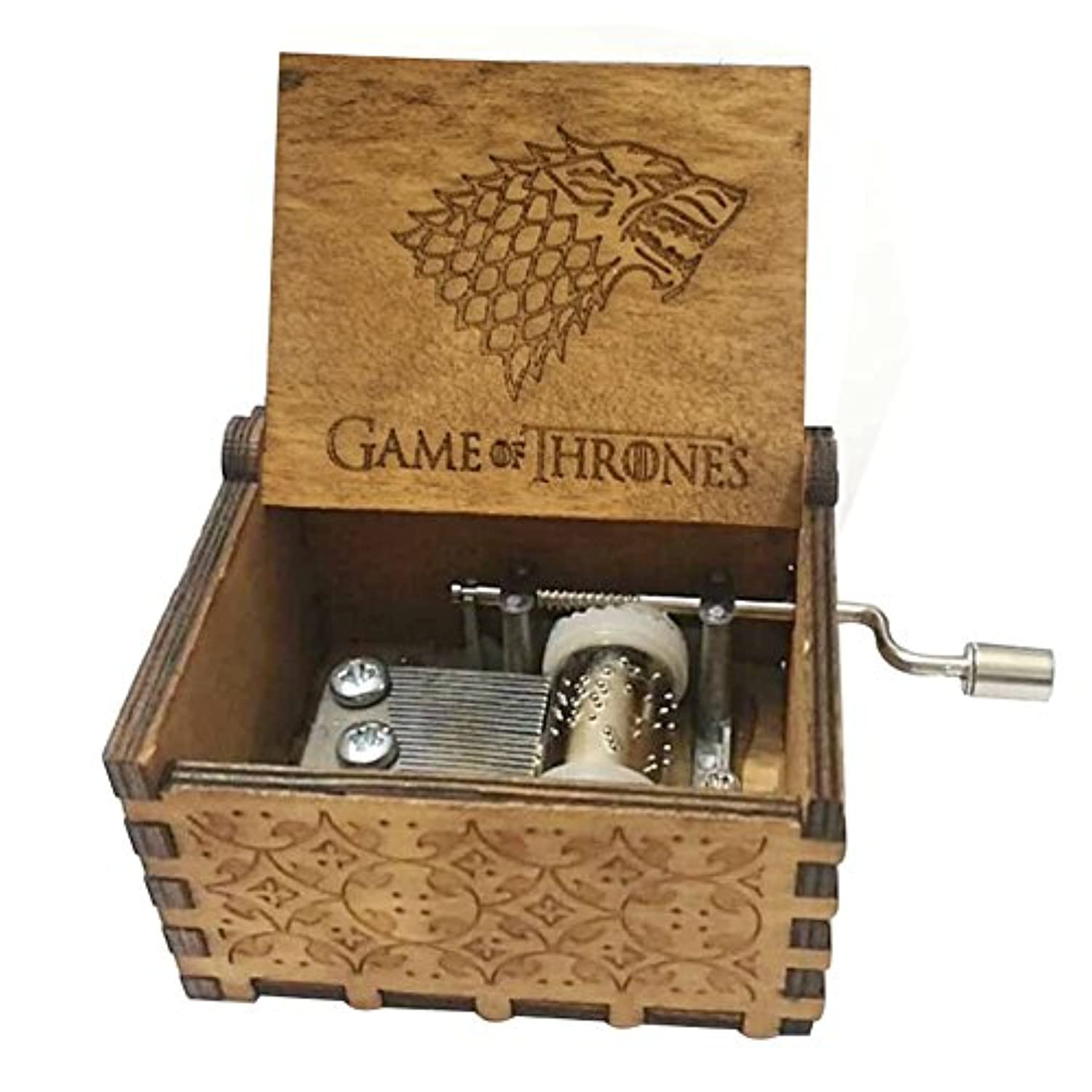(Game of Thrones B) - FORUSKY Hand Cranking Carved Game of Thrones Wood Music Box for Home Decoration Crafts,Toys,Gift
