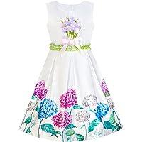 Girls Dress Navy Blue Flower Belt Vintage Party Sundress Size 6-14 Years