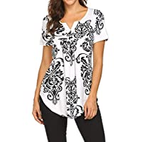 Women's Paisley Printed Short Sleeve Henley V Neck Pleated Casual Flare Tunic Blouse Shirt