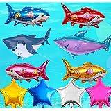 サメバルーン 動物 可愛いシャーク風船 ブルー 海 男の子 子供 100日 半歳一歳 誕生日パーティー飾り 幼稚園 部屋 イベント装飾