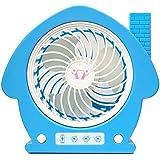 Aiqyi 漫画再充電可能なファン 手持ち ポータブルパーソナル ミニデスクUSBファン 滑り止めシリコン 小型なのに驚きの風量 (ブルー)