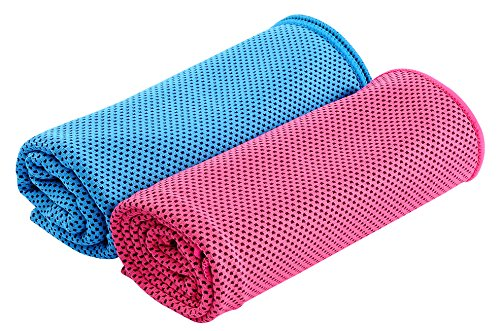 NKTM 冷感スポーツタオル 夏の暑さ対策に 冷感が大幅にアップの冷感タオル 二枚セット(blue+rose red)