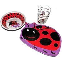 てんとう虫Lady Bug子供用食器セット、プレート、ボウル、タンブル、メラミンWares