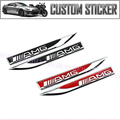 Rebias AMG エンブレム サイド プレート 左右 セット BENZ ステッカー カスタム パーツ ベンツ カー用品 ドレスアップ ブラック NS-STI-AMG-SIDEP-BK
