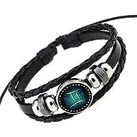 ユニセックス 12星座 ブレスレット ファッションアジャスタブル ブラック レザー 編みコンステレーションの手首ブレスレット 双子座