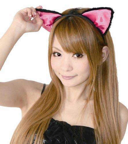 フワフワ猫耳カチューシャ 前耳 コスチューム用小物 黒/ピンク レディース