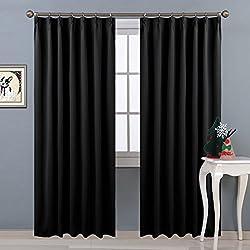 NICETOWN遮光カーテン 2枚セット ブラック 目隠し リビング UVカット 睡眠 幅100cm丈178cm