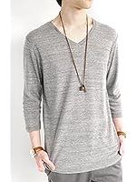 (モノマート) MONO-MART Vネック カットソー フライス ストレッチ 半袖 Tシャツ 色 サマー 斑 杢 デザイン メンズ