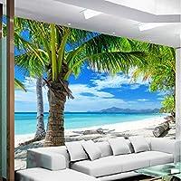 Xbwy 3D写真壁画の壁紙リビングルームのテレビの背景東南アジア海辺の風景波とビーチツリーの壁紙-150X120Cm
