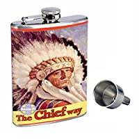 Train Santa Fe Native American Perfection inスタイル8オンスステンレススチールWhiskey Flask with Free Funnel d-345
