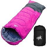 丸洗いのできる寝袋 ワイドサイズ 封筒型 最低使用温度 -5℃ コンパクト収納袋付き シュラフ 寝袋 オールシーズン (ピンク×グレー)