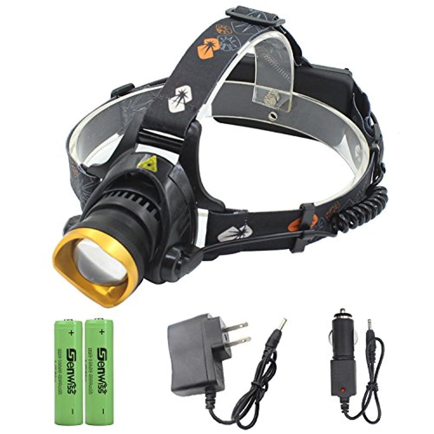 クローゼット手綱推測するGenwiss 屋外3000LM CREE T6は2 X18650または3のX AA電池で防水ヘッドランプをLEDとキャンプバイクワーキング狩猟釣り乗馬ウォーキングのための(ゴールド)