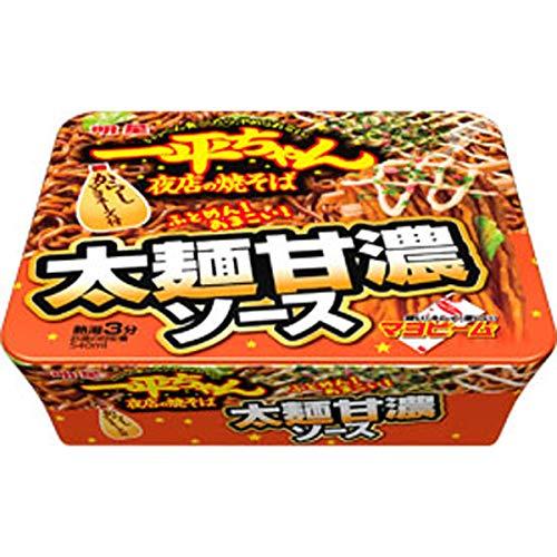 明星 一平ちゃん夜店の焼そば 太麺甘濃ソース 131g×12個入り (1ケース)