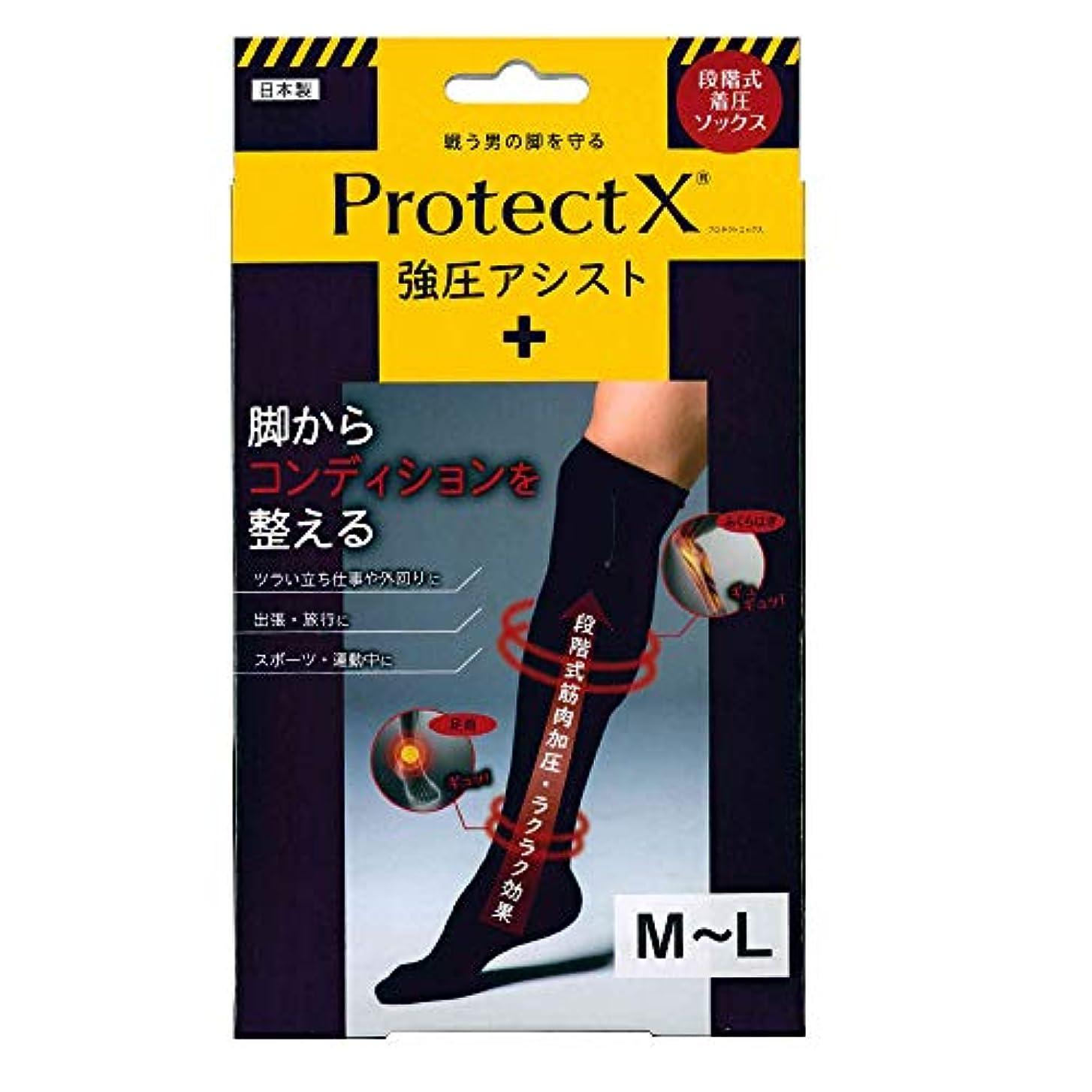 レギュラー公式温室Protect X(プロテクトエックス) 強圧アシスト つま先あり着圧ソックス 膝上 M-Lサイズ ブラック