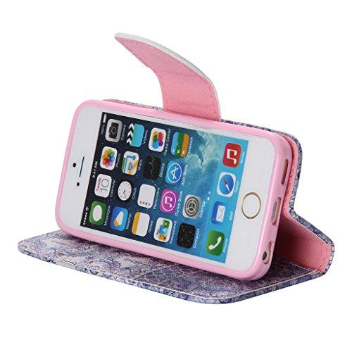 d512ab6493 ... UNEXTATI iPhone 5 / iPhone 5s ケース 高級 合皮レザー 手帳型 ケース カバー カード ...