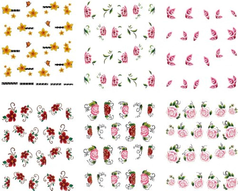 巻き戻す医師サンダースリアルフォト ウォーターネイルシール 花柄11種 極薄?重ね貼りOK (set-2)
