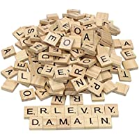 [Erlvery DaMain]Erlvery DaMain 400pcs Wood Letters Scrabble Tiles & 4 Pcs Letter Racks ,Tile Games,Wood Pieces,Tile Racks, Wooden Rack [並行輸入品]