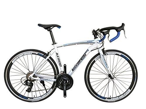 Eizer(アイゼル) 【ロードバイク】エアロデザイン軽量アルミ700Cフレームに定番シマノ21速 700Cエアロホイール装着40mmディープリム仕様でレーシーデザイン&カラーリング 好みに合わせて全4色のカラーバリエーション KE800 ホワイト/ブルー KE800 ホワイト/ブルー 700C